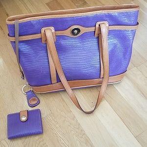 Dooney & Bourke purple logo lock shopper